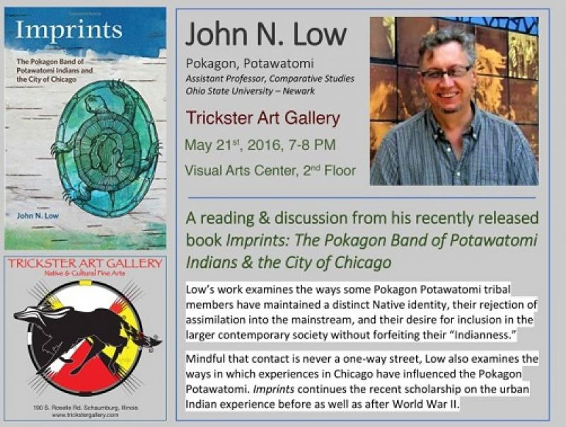 Ad for John Low's Presentation at the Trickster Art Gallery May 21