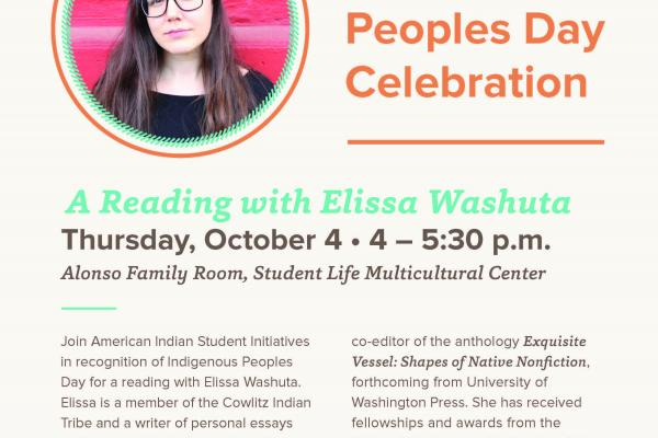 Indigenous Peoples Day A reading with Elissa Washuta October 4 4 PM to 5:30 PM